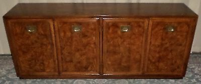 OAK BURLED CAMPAIGN STYLE BUFFET SIDEBOARD Server Credenza Concealed Drawers