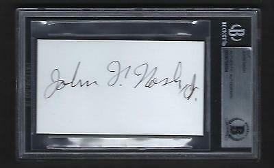 "John Nash signed card BAS Authenticated Mathematician ""A Beautiful Mind"""