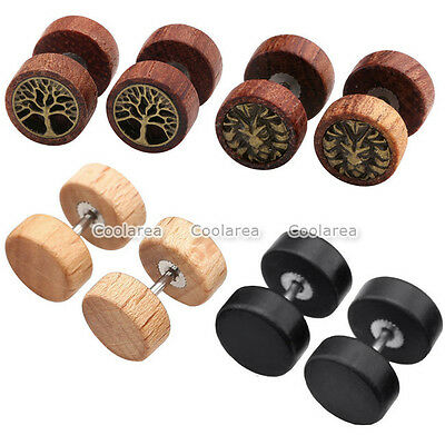 4Pairs Punk Sono Wood Round Lion Tree Of Life Barbell Fake Cheater Ear Expander