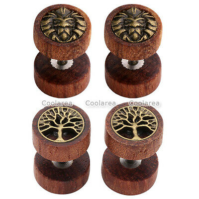 2Pairs Punk Sono Wood Lion Tree Of Life Barbell Fake Cheater Ear Expander 16Ga