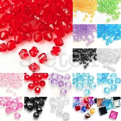 Wholesale Acrylic Transparent Beads Faceted 4/8/10/12mm Jewelry Making Hot