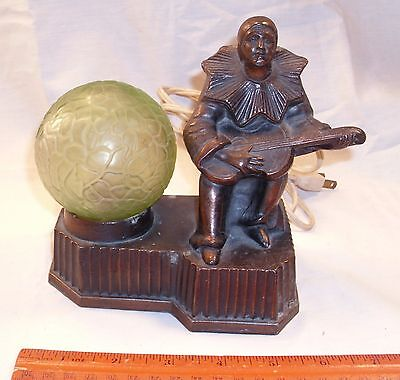 NUART ART DECO HARLEQUIN PLAYING GUITAR GLOBE LAMP 1930s WORKS
