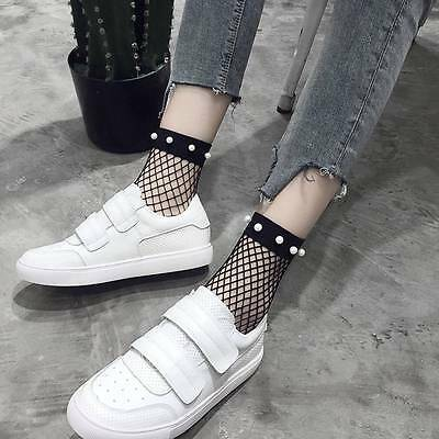 Women Fashion Ruffle Fishnet Ankle High Socks Mesh Lace Short Sock With Pearl