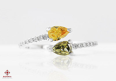 0.69 Carat Fancy Color Green & Orange Diamonds Ring White Gold Certified Pear