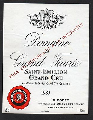 Saint Emilion Gc Etiquette Chateau Grand Faurie 1983 75 Cl  §18/04/17§