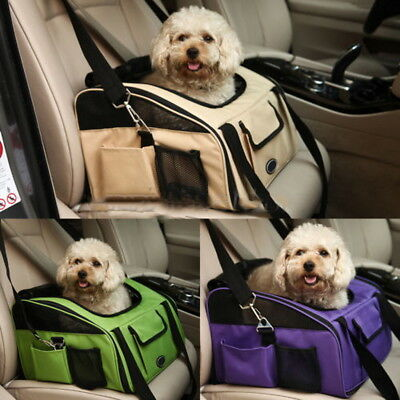 Car Seat Safety Dog Travel Puppy Pet Carrier Bag Cat Shoulder Handbag Beige