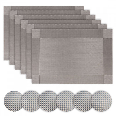 Borlans Silver Table Place Mats and Coasters Sets of 6 (Grey)