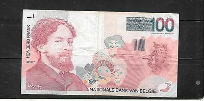 Belgium #147 Vg Circ Old 1995 100 Francs Banknote Paper Money Currency Bill Note