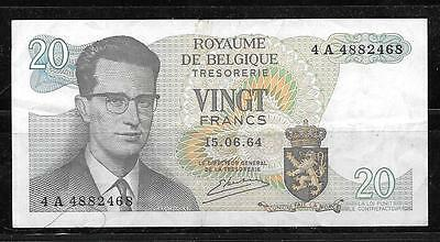 Belgium #138 1964 1964 Vf Circ 20 Franc Old Banknote Currency Paper Money Note