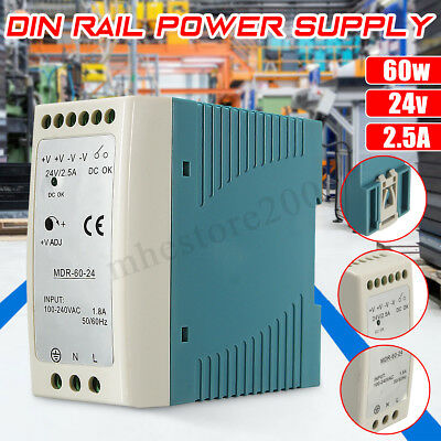 DIN Rail Power Supply AC/DC Single Output 60W 24V 2.5A MeanWell MDR-60-24