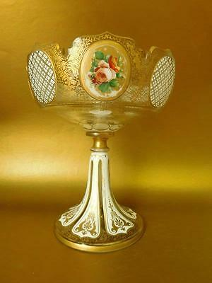 Large Cut Glass Compote Flashed Cut to Clear Gilt & Enameled Bohemian 1900s
