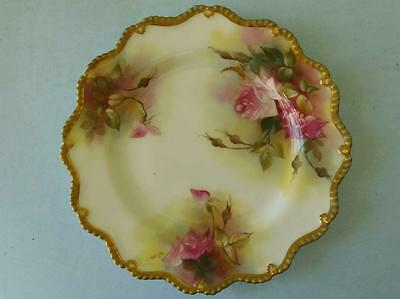 AUC2 Royal Worcester Hand painted Cabinet Plate 'Hadley Roses' EM Fildes 1920s
