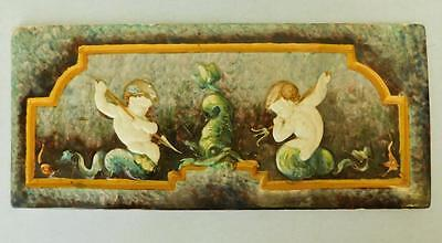 French LM&C Creil MONTEREAU  Majolica Faience Pottery Ceramic Tile Rectangular