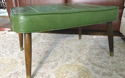 Vintage Footstool Ottoman Avocado Green Foot stool Large Rectangle Retro ESTATE