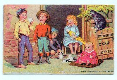 Antique Victorian Trade Card W.F. McLaughlin & Co. Coffee Children Doll Cat