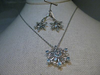 """Sterling Silver Snowflake Necklace & Earrings Set, Blue & White Topaz, 18"""""""