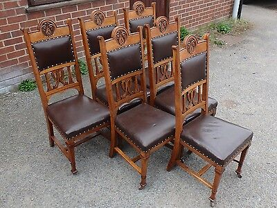 Set 6 Victorian antique Arts Crafts carved solid oak brown leather dining chairs