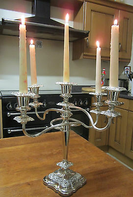 Old Antique Silver Plate Regency Style 5 Candle Candelabra English made c1975