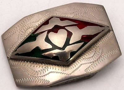 Belt Buckle Silver Plated Brass Red & Green Heart Native-look Small