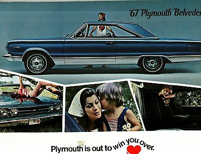 1967 Plymouth Belvedere, Gtx Deluxe Color Sales Catalog Car Literature