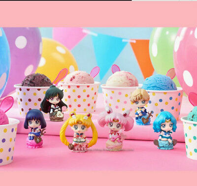 6pcs Sailor Moon Ice Cream Party Petit Chara Land Pluto PVC Mini Figure Figurine