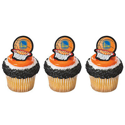 24 Golden State Warriors Basketball NBA Cupcake Rings Birthday Party Favors