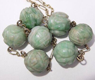 Antique Chinese Gold Filled Carved Green White Jade Shou Bead Necklace