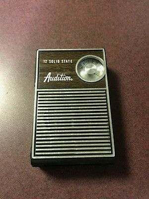 vintage Audition brown 12 Solid State transistor pocket radio WORKS