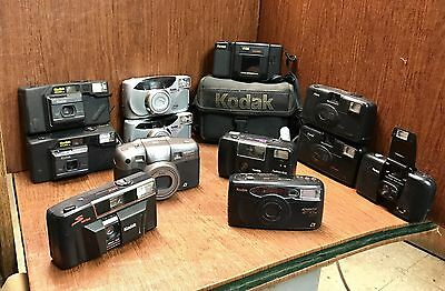 Lot Of 12 Used Vintage Kodak 35mm Film Cameras
