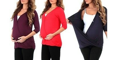 Harvic Women's Maternity Nursing Tunic with Button - Black - Size: L
