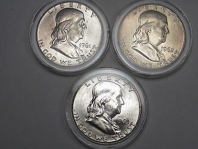 3 BU US Franklin Half Dollars: 1961, 1962-d & 1963-d.  #15