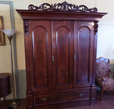 Antique Armoire Wardrobe  c1900-1920s  English Rosewood  Refinished