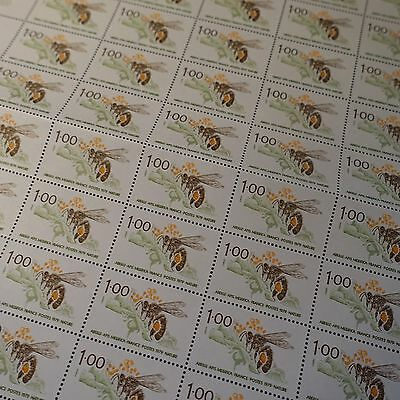 FEUILLE SHEET TIMBRE PROTECTION NATURE ABEILLE N°2039 x50 1979 NEUF ** LUXE MNH