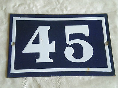Vintage House Number 45 Art Deco French Enamel blue white solid type 15 x 10cm