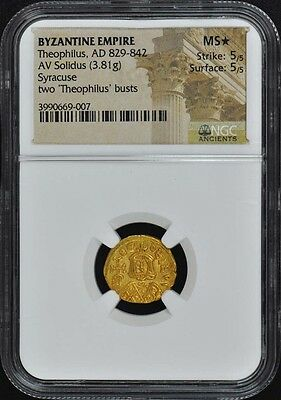 Theophilus, AD 829-842 BYZANTINE EMPIRE AV Solidus NGC MS 60 Star
