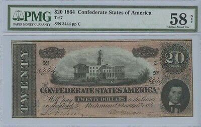 1864 $20 Confederate States of America CSA T-67 PMG AU58 Net Choice About Uncirc