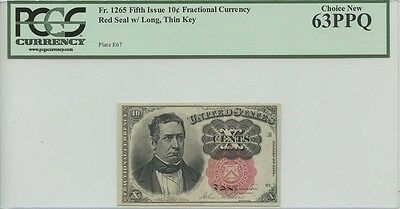 Fifth Issue 10 Cent Fractional Currency  Fr#1265 Red Seal w/ Long, Thin Key  PCG