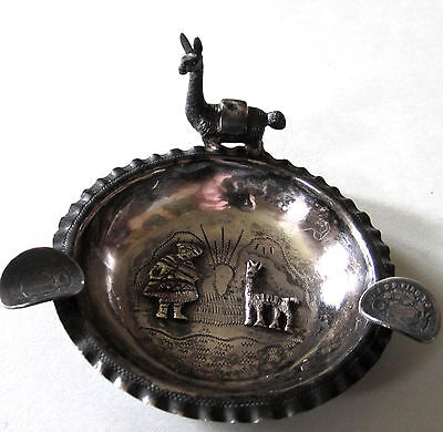 VINTAGE 925 STERLING SILVER ASHTRAY MEXICO STANDING LLAMA 47g BEAUTY WITH SCENE