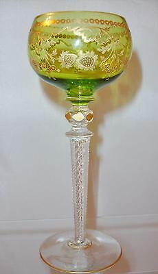 Saint Louis Gilt Glass Wine Hock Strawberry Pattern with Air Twist Stem
