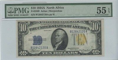 1934A $10 N. Africa Silver Certificate FR#2309 PCGS AU55  About Uncirculated EPQ