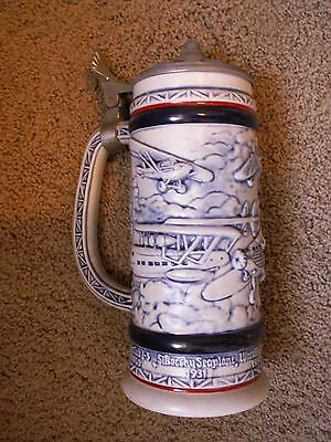 """Vintage Avon Flying Classics Airplane Stein Handcrafted Brazil 1981 9"""" No Box"""