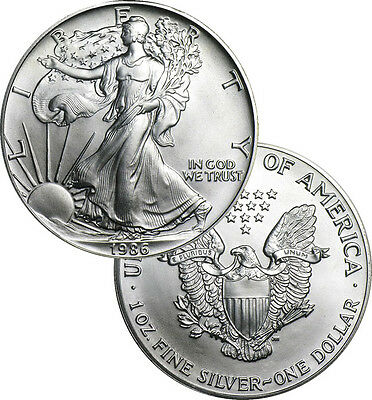 SALE PRICE - 1986 1 oz .999 Fine American Silver Eagle BU