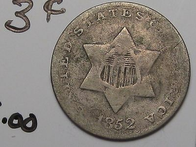 1852 US Silver 3 Cent Coin. 3c.  #6