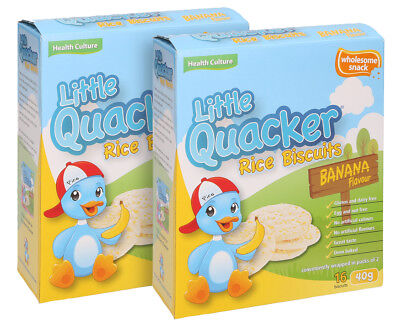 2 x Little Quacker Banana Flavour Rice Biscuits 40g