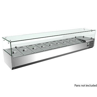 """Omcan 79"""" Refrigerated Topping Rail With Sneeze Guard Pizza Prep Rs-Cn-0009-P"""