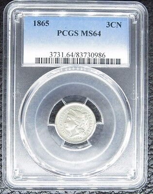 1865 3 Three Cent Nickel Pcgs Certified Ms 64 Uncirculated (986)