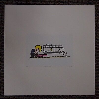CUTE Peanuts Limited Edition Etching Snoopy Schroeder Woodstock Piano Music LG