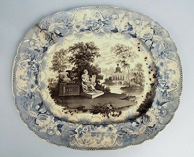 Antique Early 19c Historic Staffordshire Washington Soft Paste Porcelain Platter