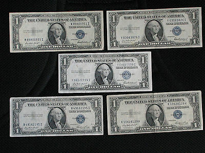 5 1935 One Dollar Bills * SILVER CERTIFICATES * GENERAL CIRCULATED NOTES