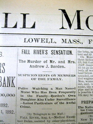 Best 1892 bound newspapers LIZZIE BORDEN AXE MURDERS Fall River MASSACHUSETTS